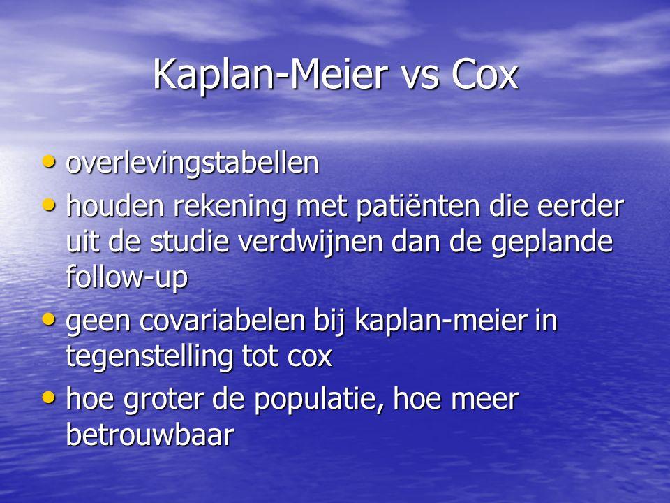 Kaplan-Meier vs Cox overlevingstabellen overlevingstabellen houden rekening met patiënten die eerder uit de studie verdwijnen dan de geplande follow-u