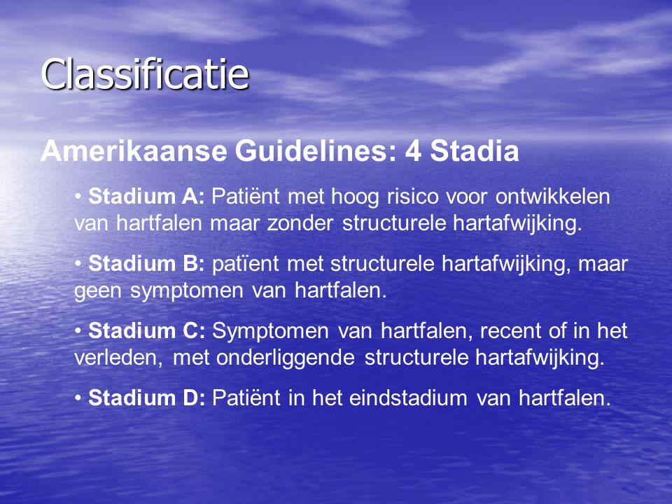 Classificatie Amerikaanse Guidelines: 4 Stadia Stadium A: Patiënt met hoog risico voor ontwikkelen van hartfalen maar zonder structurele hartafwijking