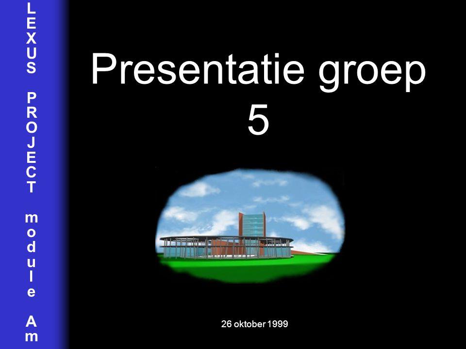 LEXUSPROJECTmoduleAmLEXUSPROJECTmoduleAm Presentatie groep 5 26 oktober 1999