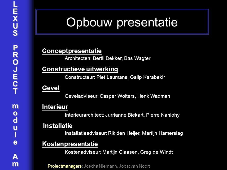 LEXUSPROJECTmoduleAm Conceptpresentatie Architecten: Bertil Dekker, Bas Wagter Constructieve uitwerking Constructeur: Piet Laumans, Galip Karabekir Ge