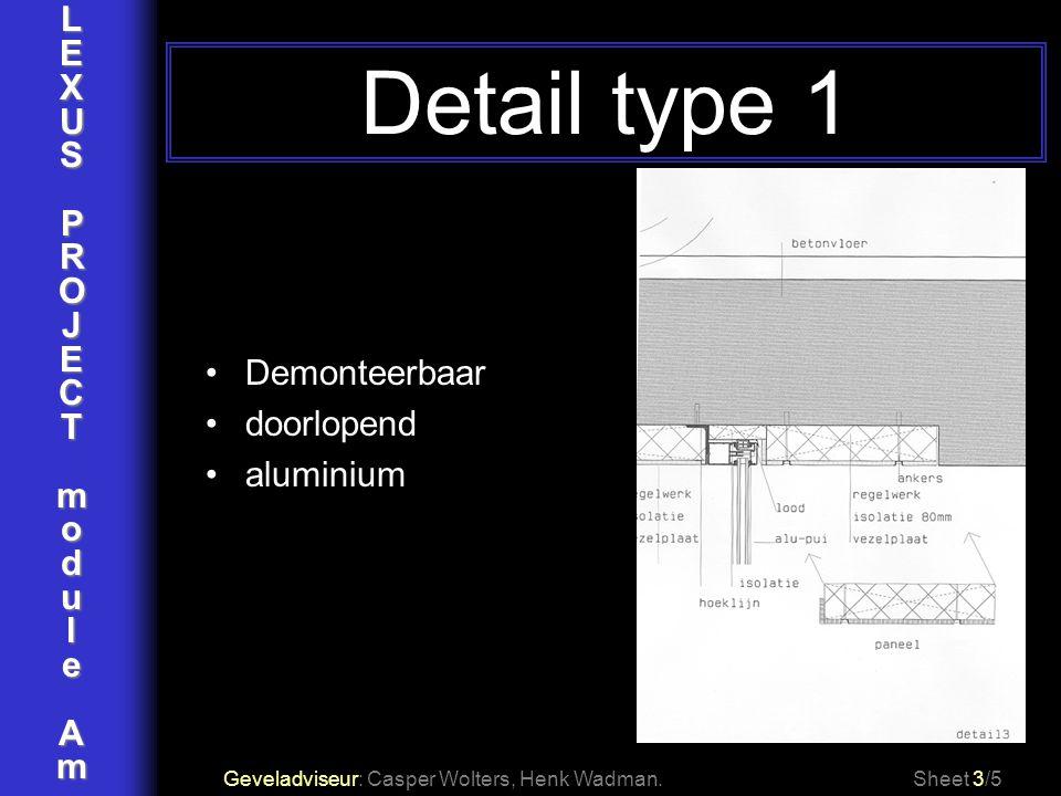 LEXUSPROJECTmoduleAm Detail type 1 Geveladviseur: Casper Wolters, Henk Wadman.Sheet 3/5 Demonteerbaar doorlopend aluminium