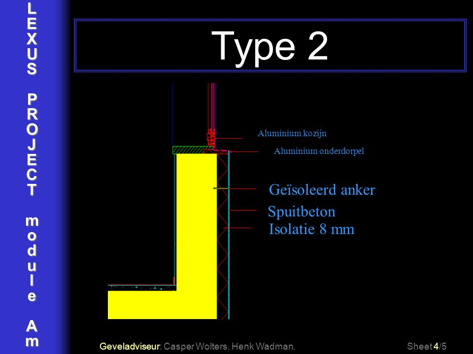 LEXUSPROJECTmoduleAm Type 2 Geveladviseur: Casper Wolters, Henk Wadman.Sheet 4/5 Aluminium kozijn Aluminium onderdorpel Spuitbeton Isolatie 8 mm Geïso