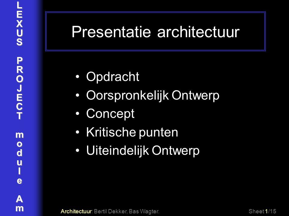 LEXUSPROJECTmoduleAm Presentatie architectuur Architectuur: Bertil Dekker, Bas Wagter. Opdracht Oorspronkelijk Ontwerp Concept Kritische punten Uitein