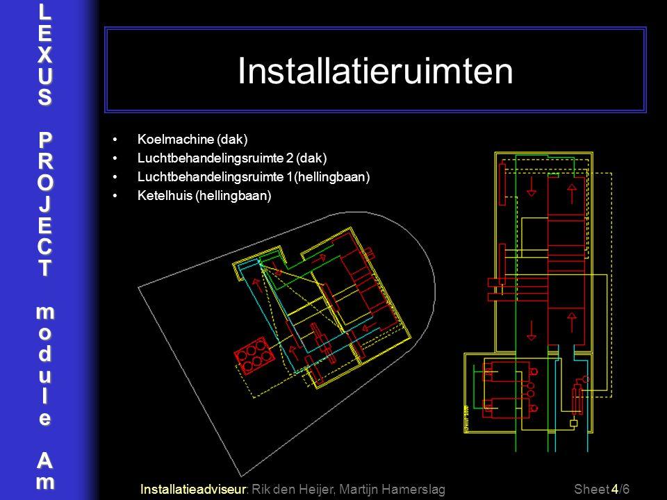 LEXUSPROJECTmoduleAm Installatieruimten Installatieadviseur: Rik den Heijer, Martijn HamerslagSheet 4/6 Koelmachine (dak) Luchtbehandelingsruimte 2 (d