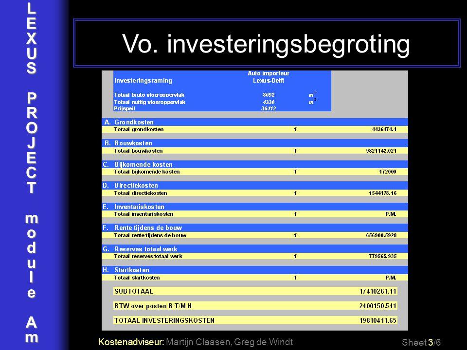 LEXUSPROJECTmoduleAm Vo. investeringsbegroting Sheet 3/6 Kostenadviseur: Martijn Claasen, Greg de Windt