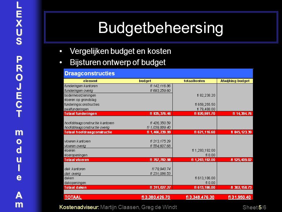 LEXUSPROJECTmoduleAm Budgetbeheersing Sheet 5/6 Vergelijken budget en kosten Bijsturen ontwerp of budget Kostenadviseur: Martijn Claasen, Greg de Wind