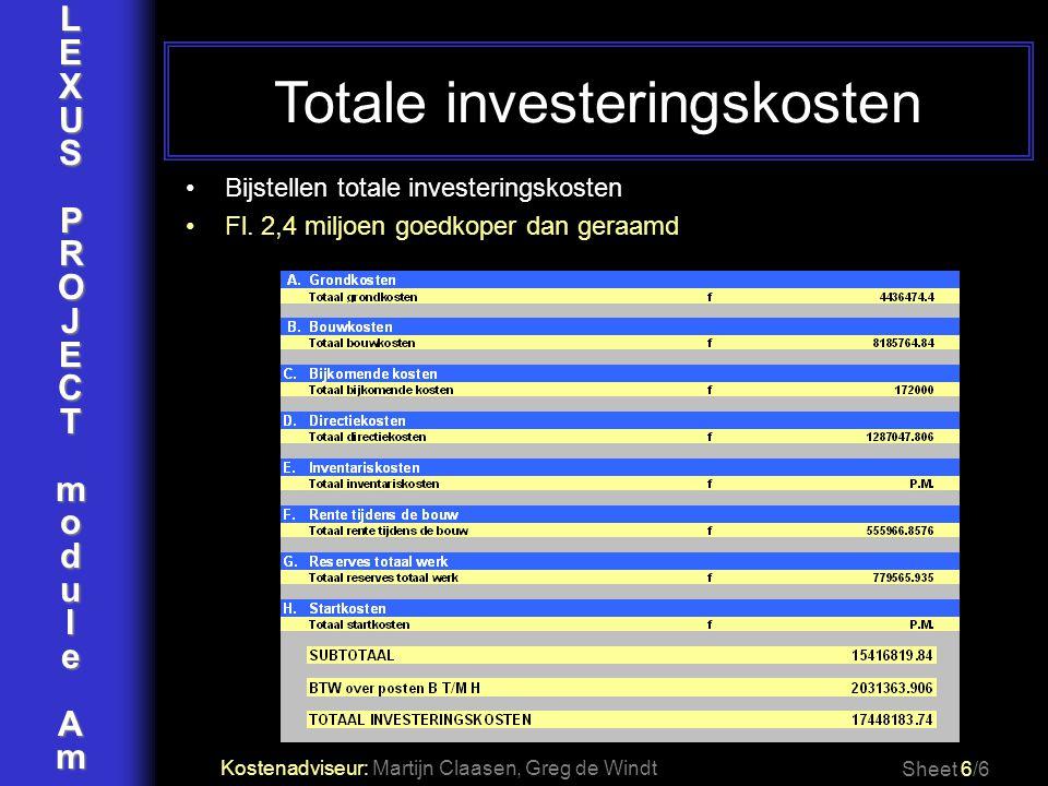 LEXUSPROJECTmoduleAm Sheet 6/6 Kostenadviseur: Martijn Claasen, Greg de Windt Bijstellen totale investeringskosten Fl. 2,4 miljoen goedkoper dan geraa