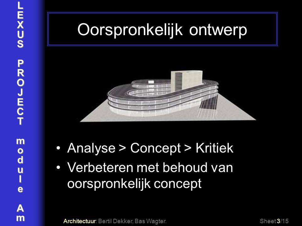 LEXUSPROJECTmoduleAm Oorspronkelijk ontwerp Architectuur: Bertil Dekker, Bas Wagter.Sheet 3/15 Analyse > Concept > Kritiek Verbeteren met behoud van o