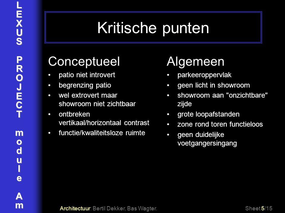 LEXUSPROJECTmoduleAm Kritische punten Architectuur: Bertil Dekker, Bas Wagter.Sheet 5/15 Conceptueel patio niet introvert begrenzing patio wel extrove