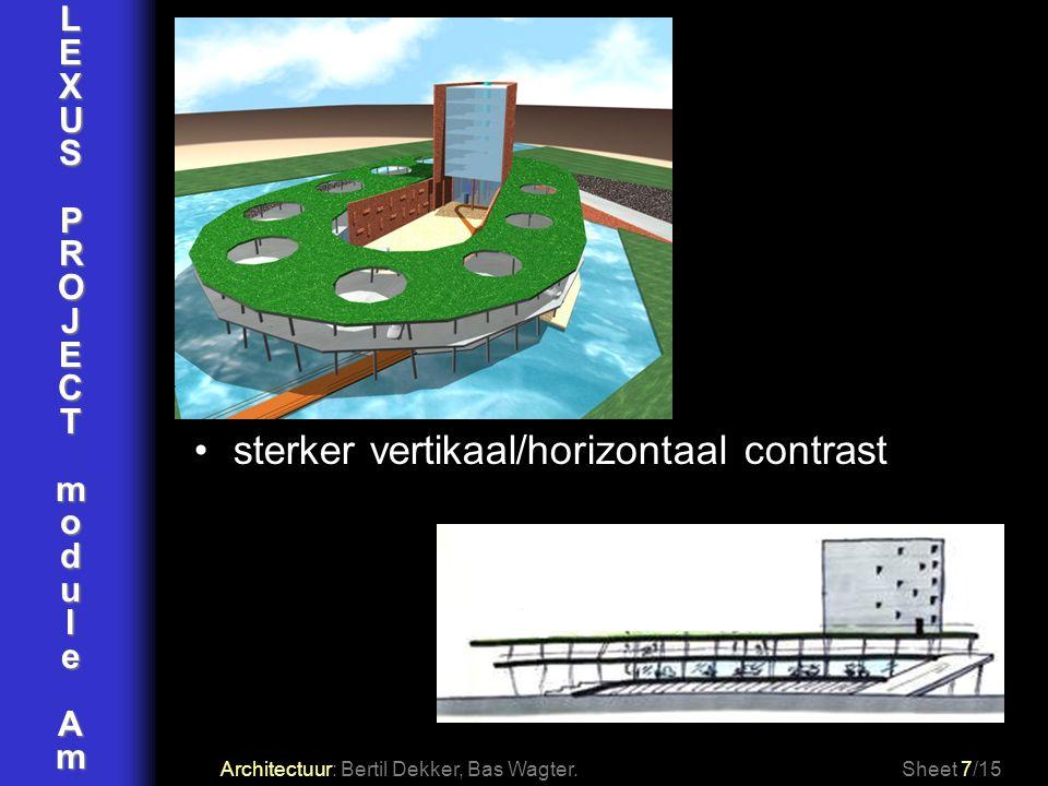 LEXUSPROJECTmoduleAm Architectuur: Bertil Dekker, Bas Wagter.Sheet 8/15 patio wordt welkomstplein kantoor beëindigd plein 2 gevels begrenzen plein pleinentree: schuin geplaatste kolommen plein, hal en showroom op zelfde niveau