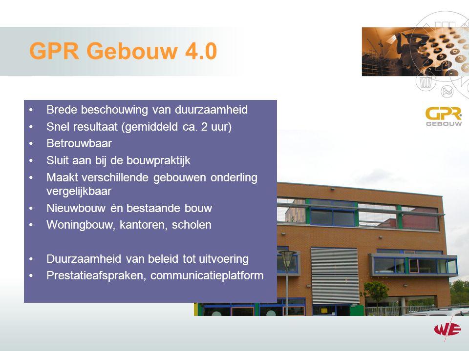 GPR Gebouw 4.0 Brede beschouwing van duurzaamheid Snel resultaat (gemiddeld ca.
