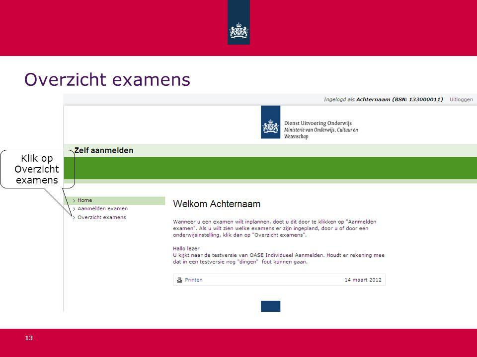 13 Overzicht examens Klik op Overzicht examens