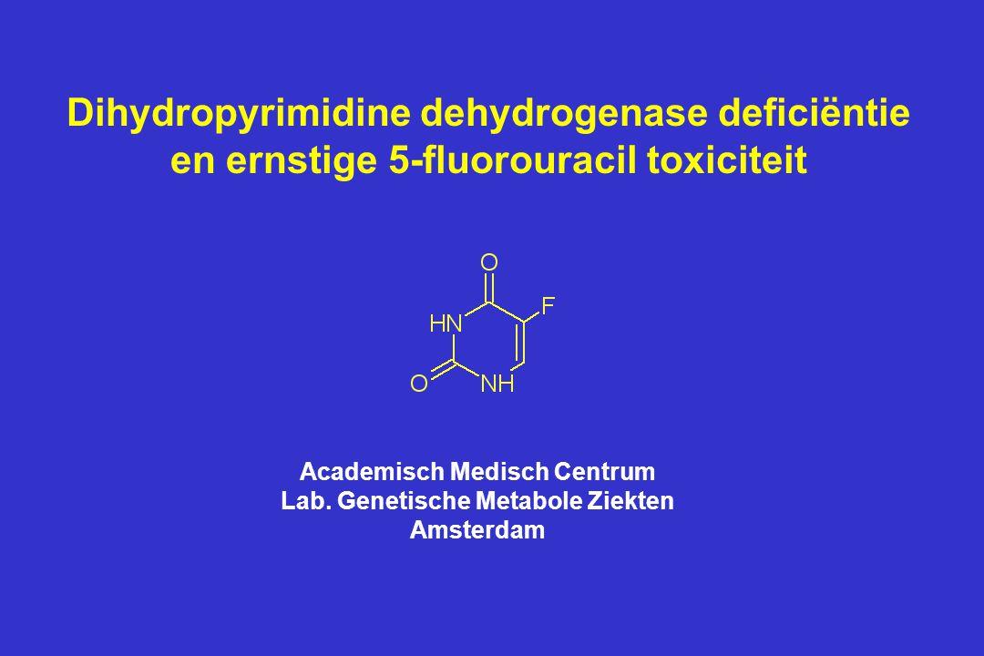 DPD genotype in patiënten met ernstige 5FU toxiciteit Elk symbool stelt een patiënt voor die homozygoot (o) of heterozygoot (  ) is voor de betreffende mutatie/polymorfisme Ann Clin Biochem (2003) 40: 41-45