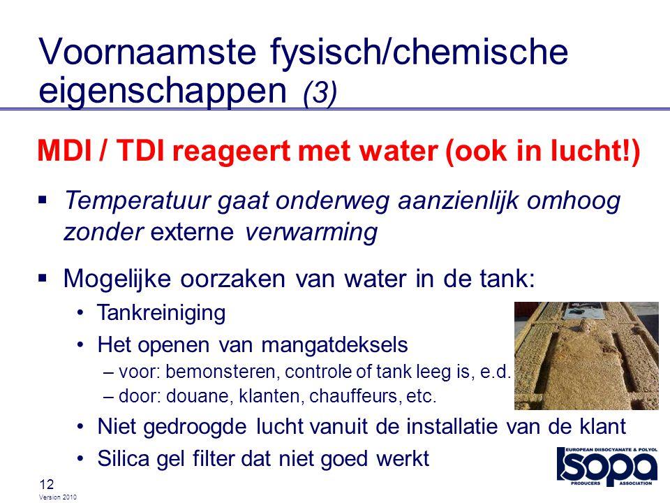 Version 2010 12 MDI / TDI reageert met water (ook in lucht!)  Temperatuur gaat onderweg aanzienlijk omhoog zonder externe verwarming  Mogelijke oorz