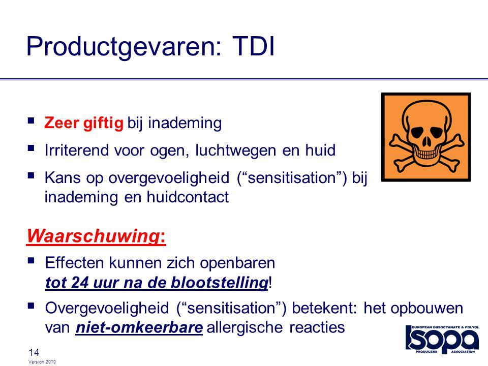 """Version 2010 14 Productgevaren: TDI  Zeer giftig bij inademing  Irriterend voor ogen, luchtwegen en huid  Kans op overgevoeligheid (""""sensitisation"""""""