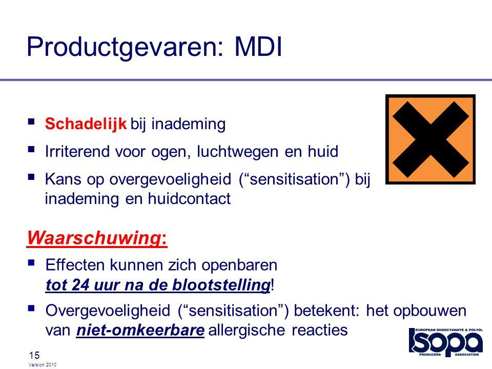 """Version 2010 15 Productgevaren: MDI  Schadelijk bij inademing  Irriterend voor ogen, luchtwegen en huid  Kans op overgevoeligheid (""""sensitisation"""")"""