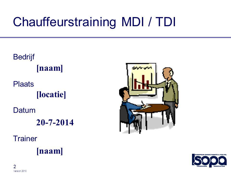 2 Chauffeurstraining MDI / TDI Bedrijf [naam] Plaats [locatie] Datum 20-7-2014 Trainer [naam]