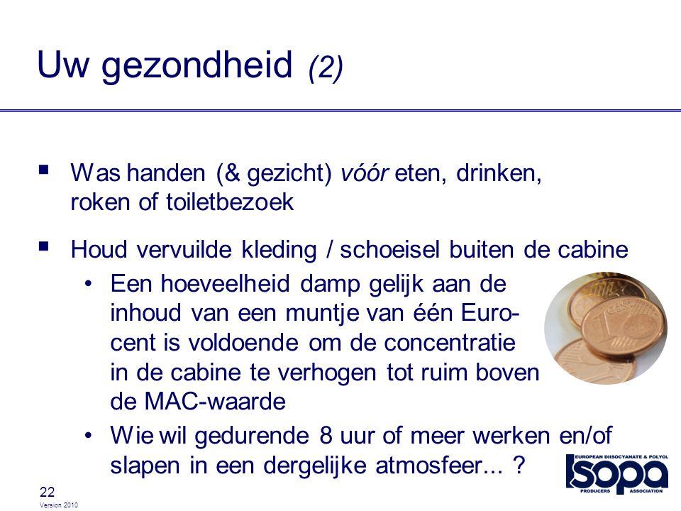 Version 2010 22  Was handen (& gezicht) vóór eten, drinken, roken of toiletbezoek  Houd vervuilde kleding / schoeisel buiten de cabine Een hoeveelhe