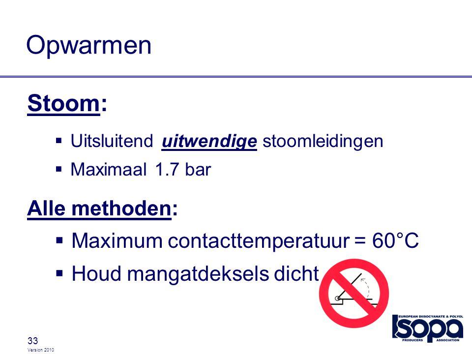 Version 2010 33 Opwarmen Stoom:  Uitsluitend uitwendige stoomleidingen  Maximaal 1.7 bar Alle methoden:  Maximum contacttemperatuur = 60°C  Houd m