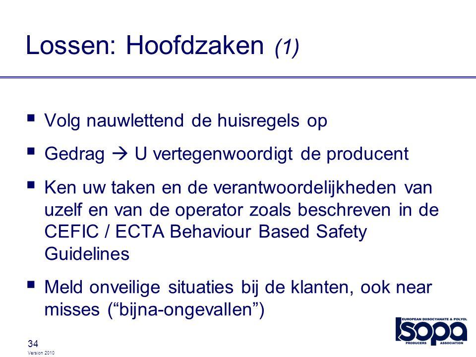 Version 2010 34 Lossen: Hoofdzaken (1)  Volg nauwlettend de huisregels op  Gedrag  U vertegenwoordigt de producent  Ken uw taken en de verantwoord