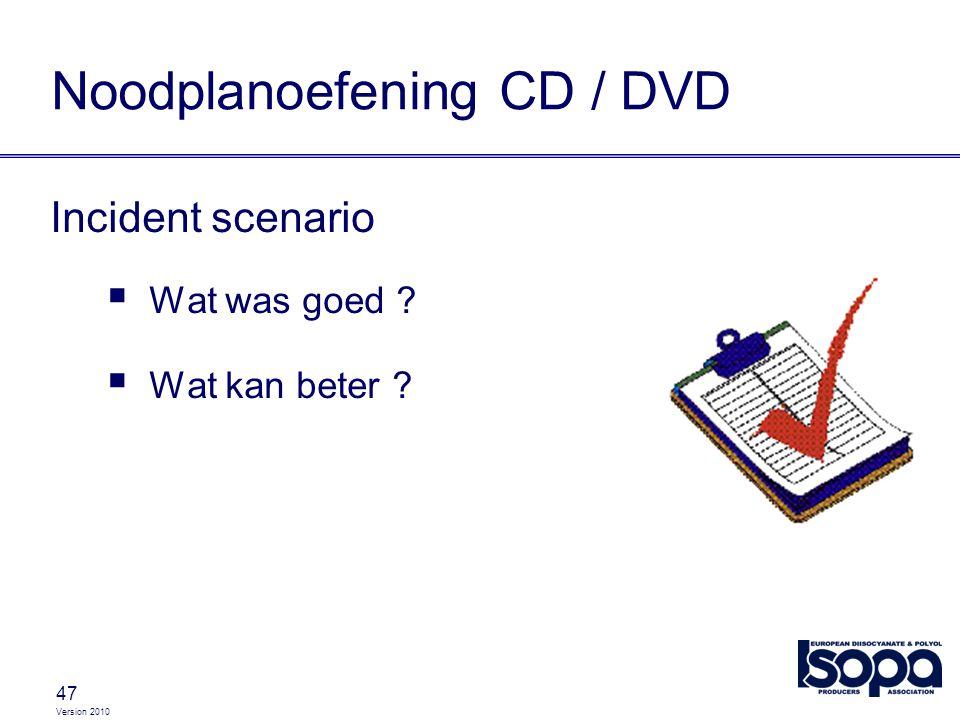 Version 2010 47 Noodplanoefening CD / DVD Incident scenario  Wat was goed ?  Wat kan beter ?