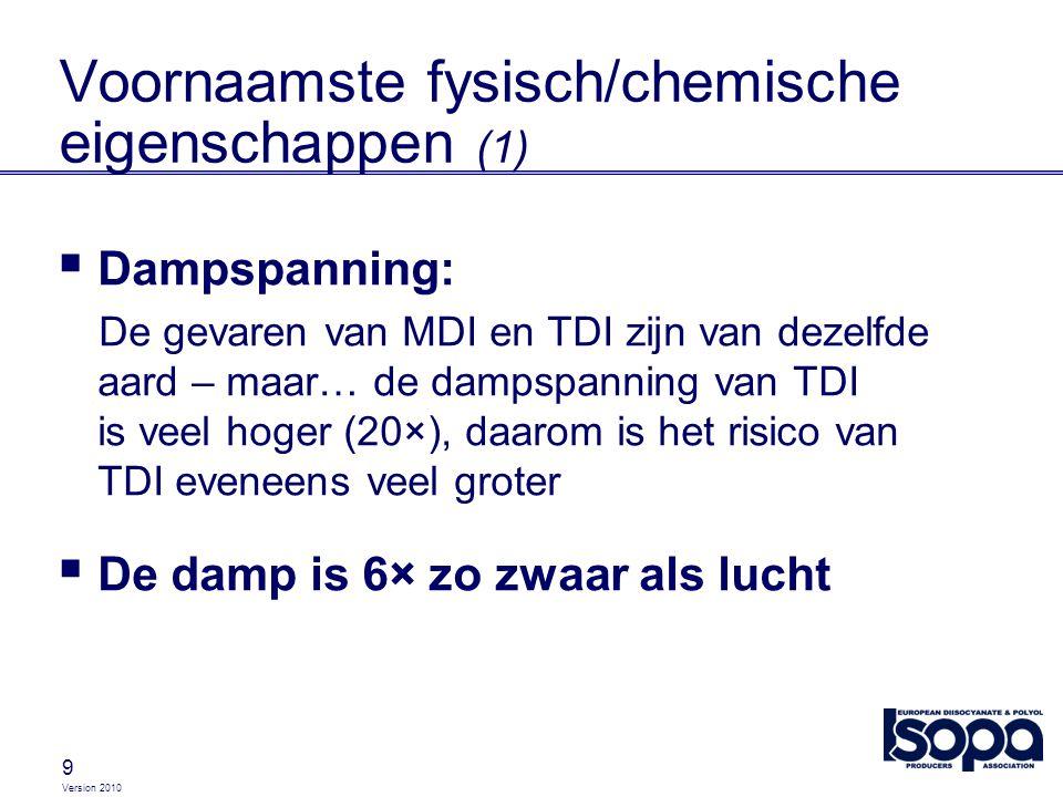 Version 2010 9 Voornaamste fysisch/chemische eigenschappen (1)  Dampspanning: De gevaren van MDI en TDI zijn van dezelfde aard – maar… de dampspannin