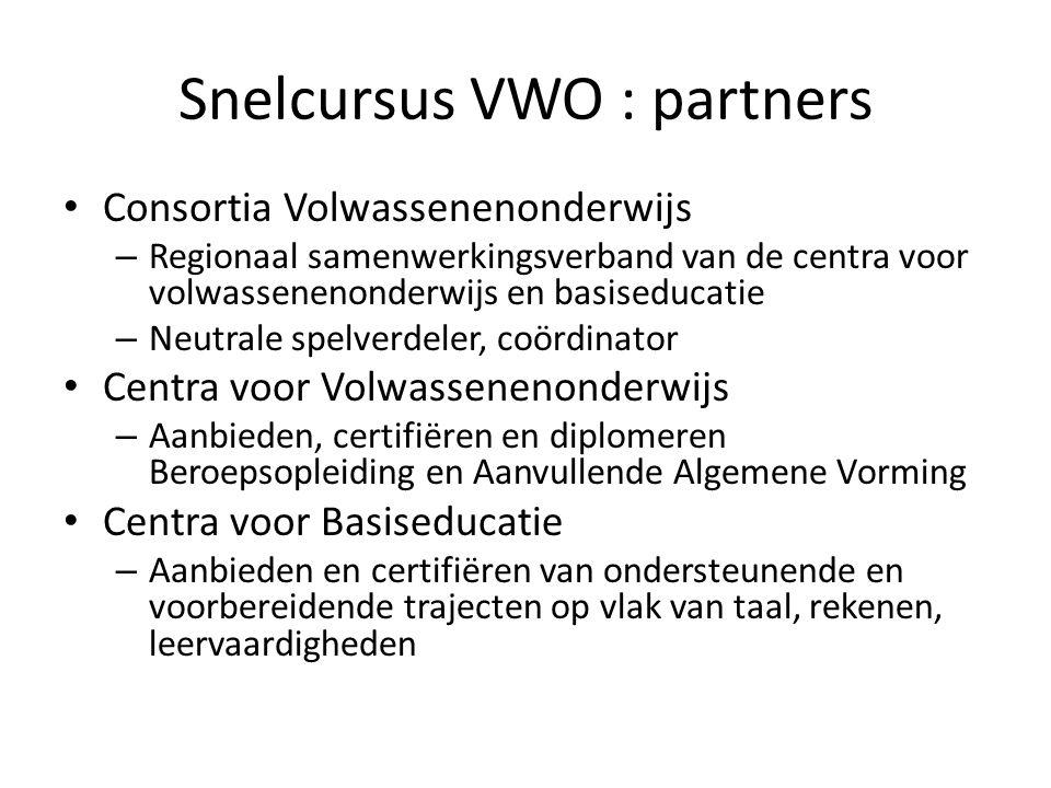 Snelcursus VWO : partners Consortia Volwassenenonderwijs – Regionaal samenwerkingsverband van de centra voor volwassenenonderwijs en basiseducatie – N