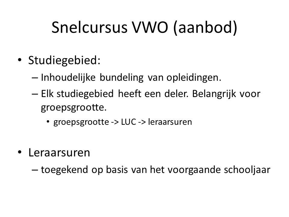 Snelcursus VWO (aanbod) Studiegebied: – Inhoudelijke bundeling van opleidingen. – Elk studiegebied heeft een deler. Belangrijk voor groepsgrootte. gro