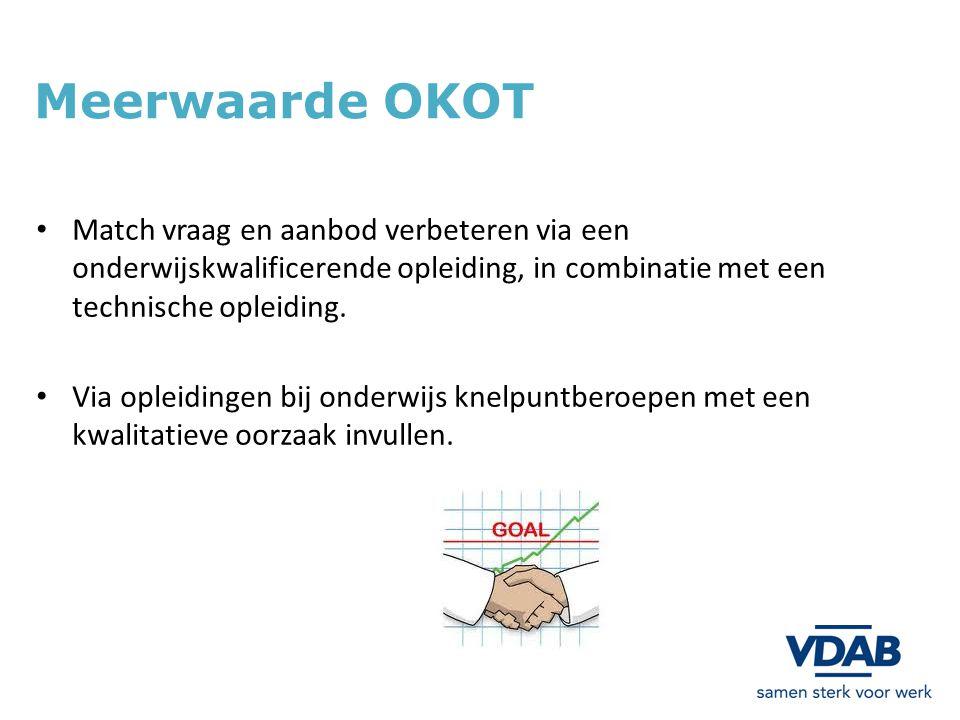 Meerwaarde OKOT Match vraag en aanbod verbeteren via een onderwijskwalificerende opleiding, in combinatie met een technische opleiding. Via opleidinge