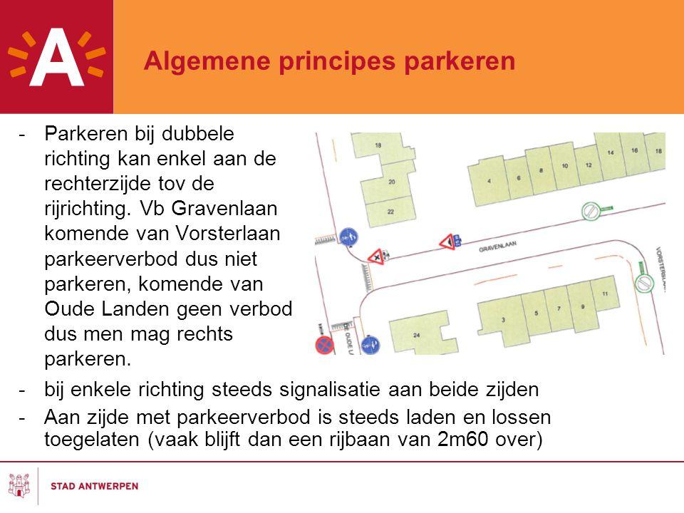 Algemene principes parkeren -Parkeren bij dubbele richting kan enkel aan de rechterzijde tov de rijrichting. Vb Gravenlaan komende van Vorsterlaan par