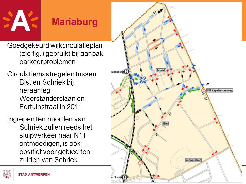 Goedgekeurd wijkcirculatieplan (zie fig.) gebruikt bij aanpak parkeerproblemen Circulatiemaatregelen tussen Bist en Schriek bij heraanleg Weerstanders