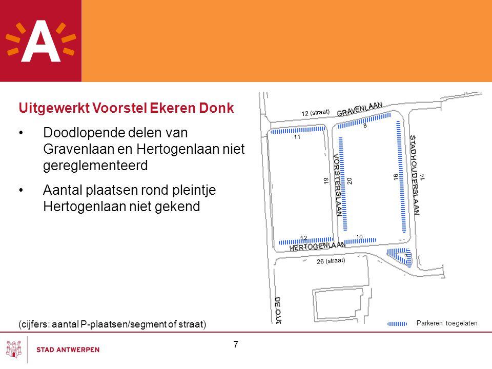 7 Parkeren toegelaten Uitgewerkt Voorstel Ekeren Donk Doodlopende delen van Gravenlaan en Hertogenlaan niet gereglementeerd Aantal plaatsen rond plein