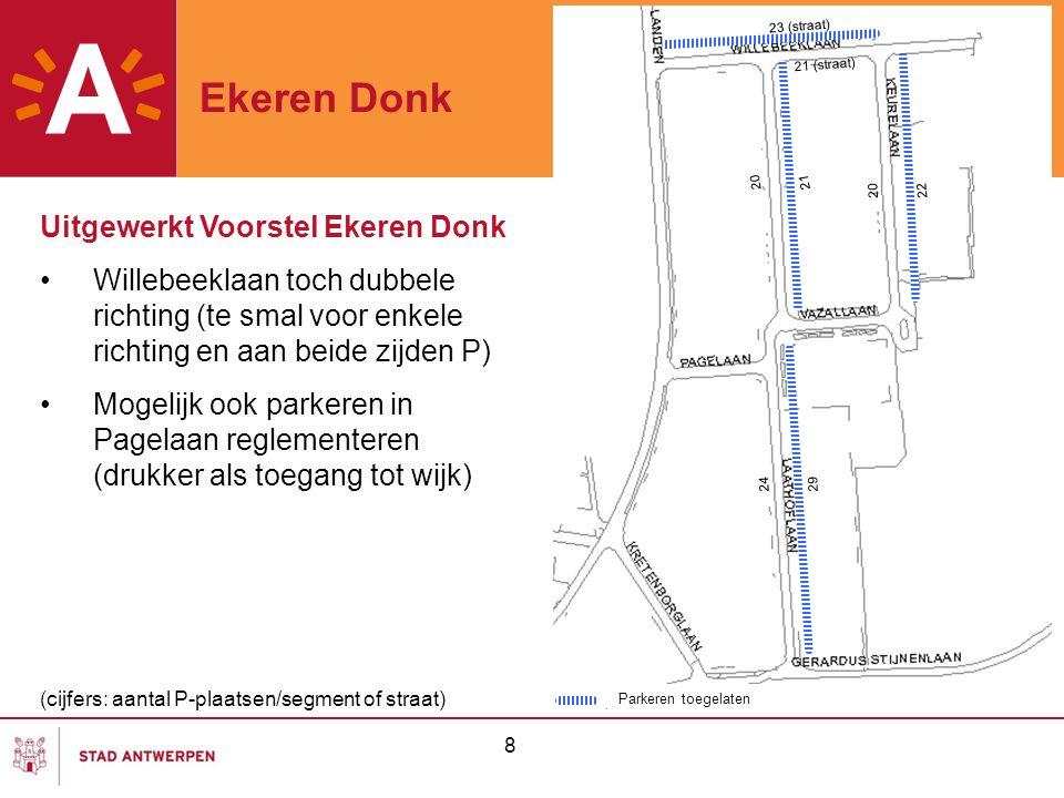 8 Ekeren Donk Parkeren toegelaten Uitgewerkt Voorstel Ekeren Donk Willebeeklaan toch dubbele richting (te smal voor enkele richting en aan beide zijde