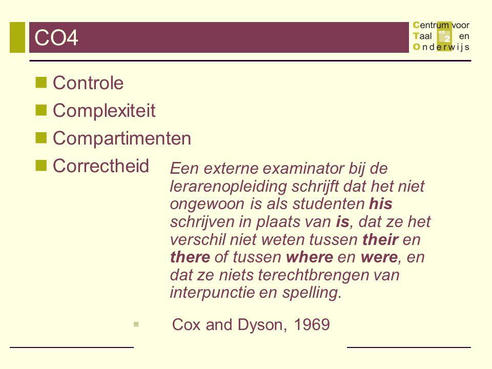 CO4 Controle Complexiteit Compartimenten Correctheid  Cox and Dyson, 1969 Een externe examinator bij de lerarenopleiding schrijft dat het niet ongewoon is als studenten his schrijven in plaats van is, dat ze het verschil niet weten tussen their en there of tussen where en were, en dat ze niets terechtbrengen van interpunctie en spelling.