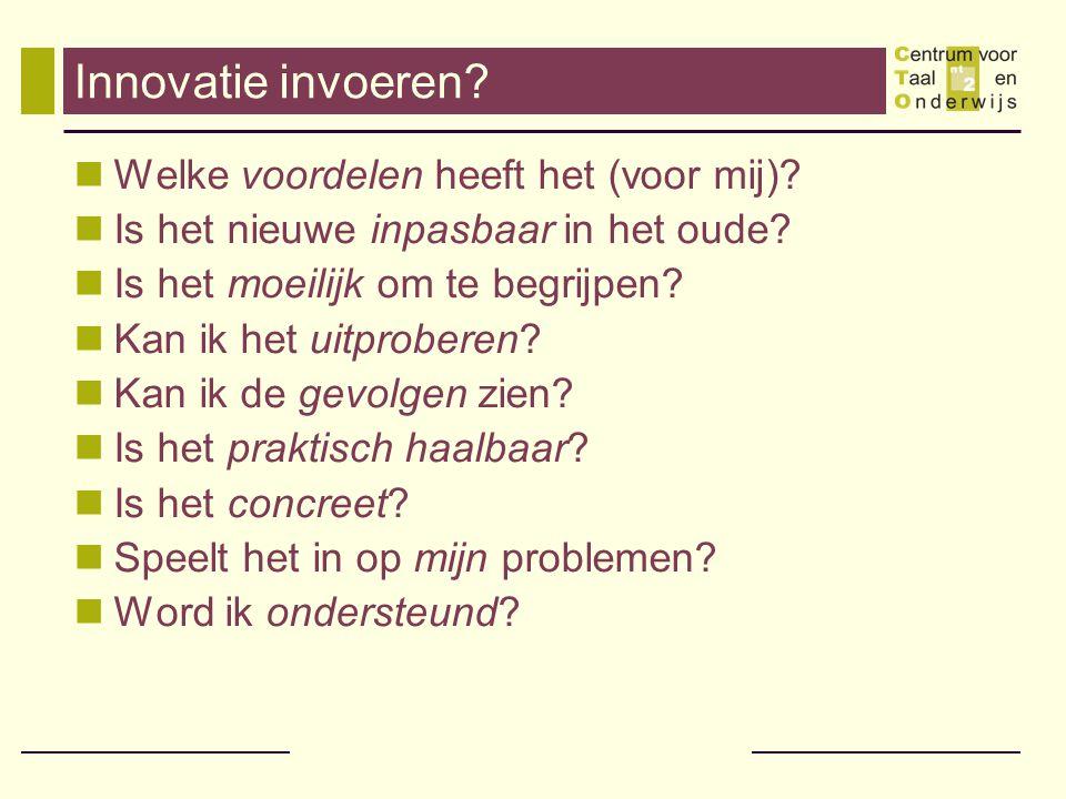 Innovatie invoeren? Welke voordelen heeft het (voor mij)? Is het nieuwe inpasbaar in het oude? Is het moeilijk om te begrijpen? Kan ik het uitproberen