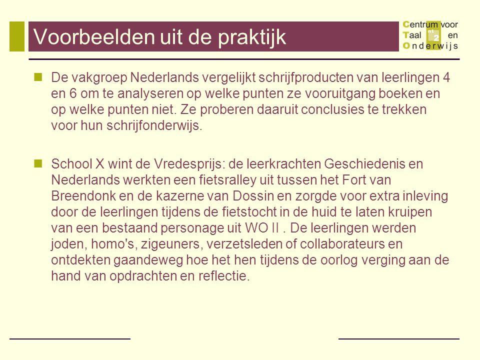 Voorbeelden uit de praktijk De vakgroep Nederlands vergelijkt schrijfproducten van leerlingen 4 en 6 om te analyseren op welke punten ze vooruitgang b