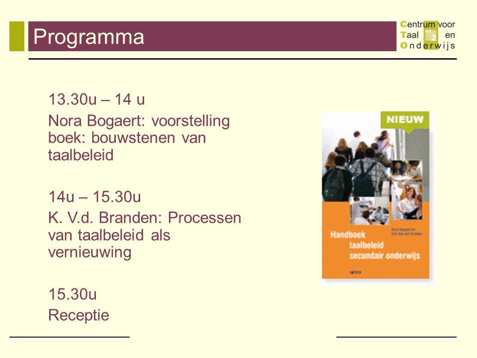 Programma 13.30u – 14 u Nora Bogaert: voorstelling boek: bouwstenen van taalbeleid 14u – 15.30u K. V.d. Branden: Processen van taalbeleid als vernieuw
