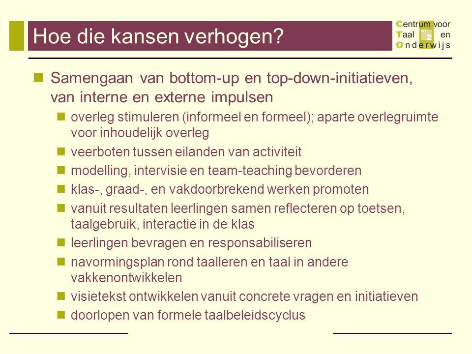Hoe die kansen verhogen? Samengaan van bottom-up en top-down-initiatieven, van interne en externe impulsen overleg stimuleren (informeel en formeel);
