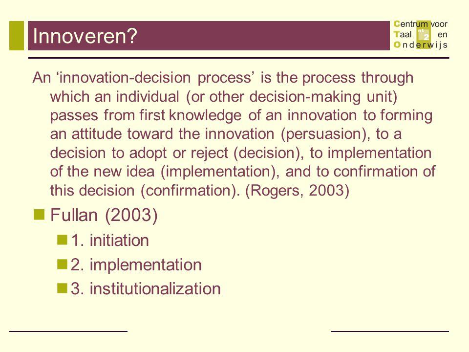 Een delicaat proces Ongeveer 75% van alle innovaties mislukken op lange termijn omdat vroege 'adopters' ofwel de innovatie verwerpen tijdens de implementatie- fase, of hun mening over de bruikbaarheid of relevantie van de innovatie herzien voor de vernieuwing geïncorporeerd is.