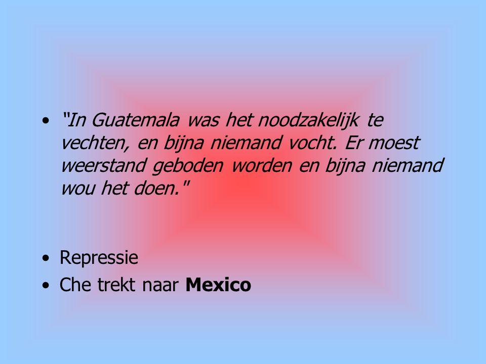 """""""In Guatemala was het noodzakelijk te vechten, en bijna niemand vocht. Er moest weerstand geboden worden en bijna niemand wou het doen."""