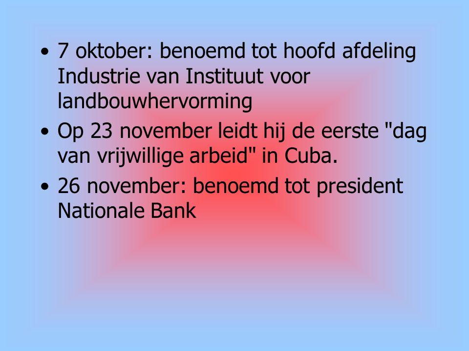 7 oktober: benoemd tot hoofd afdeling Industrie van Instituut voor landbouwhervorming Op 23 november leidt hij de eerste