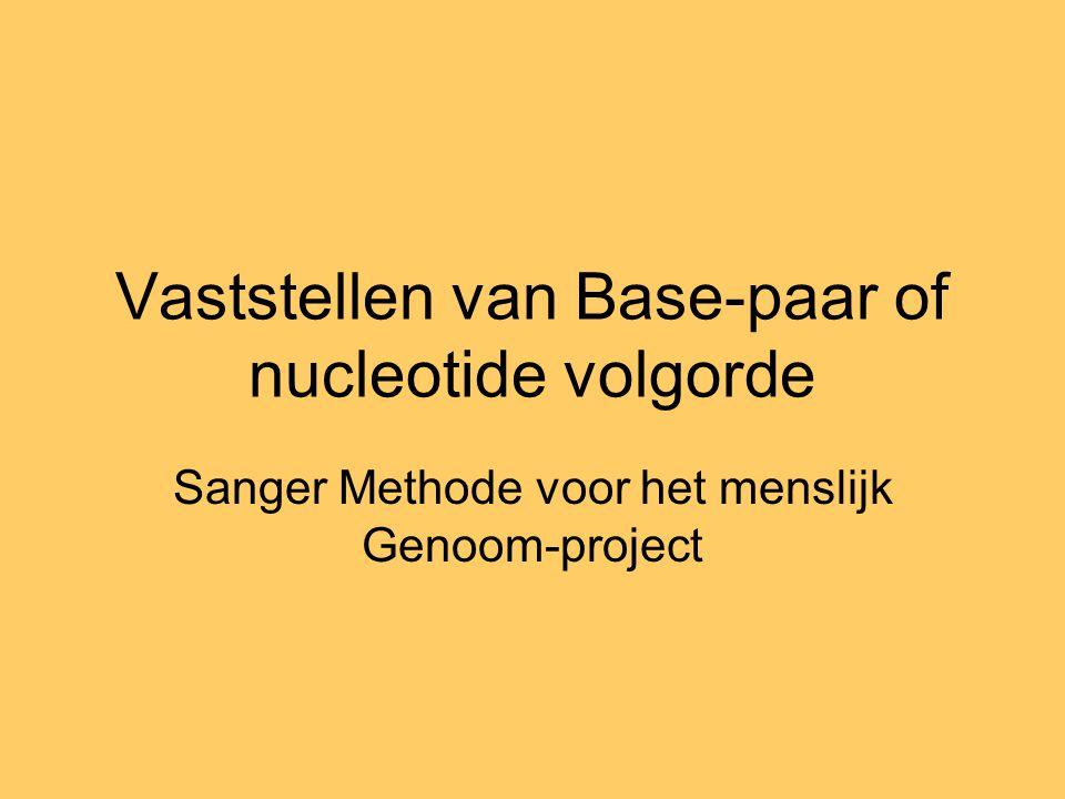 Vaststellen van Base-paar of nucleotide volgorde Sanger Methode voor het menslijk Genoom-project