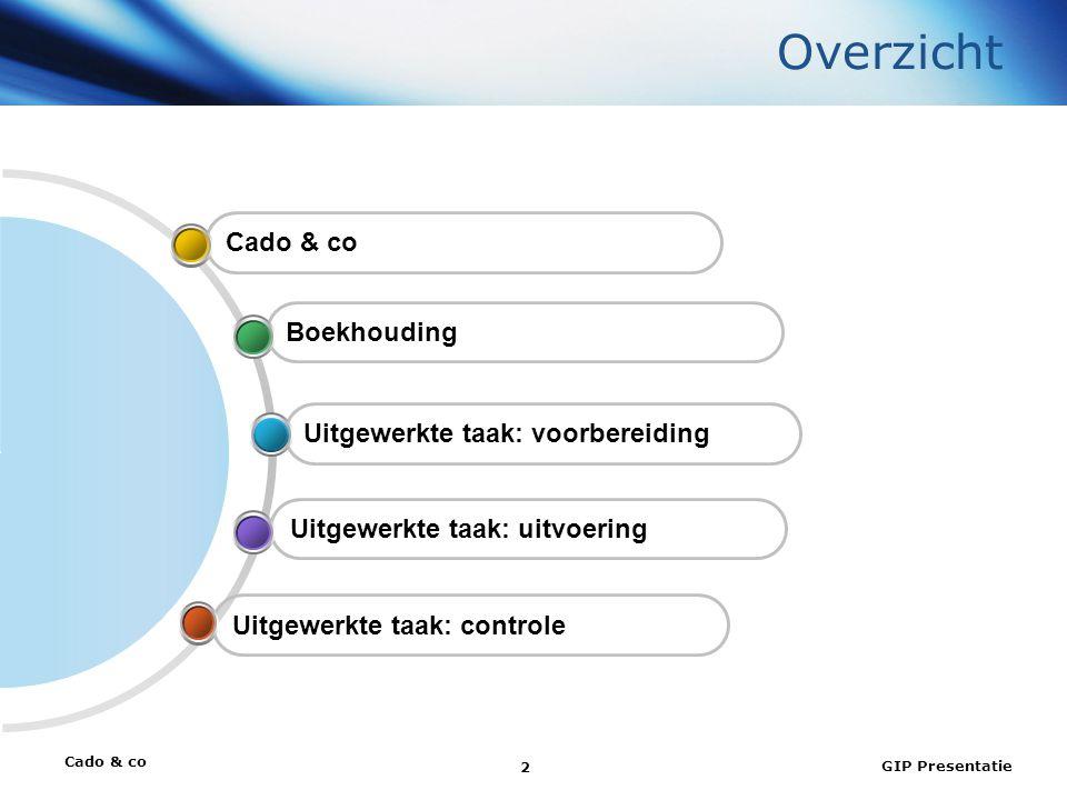Cado & co GIP Presentatie 2 Overzicht Uitgewerkte taak: controle Uitgewerkte taak: uitvoering Uitgewerkte taak: voorbereiding Boekhouding Cado & co