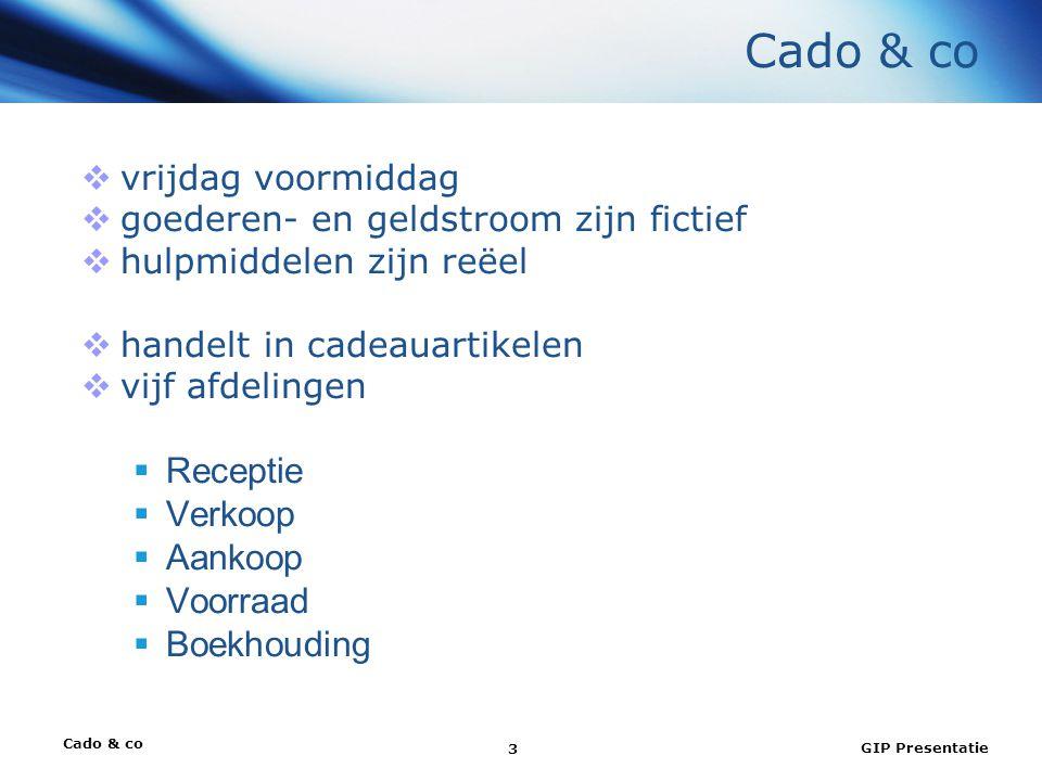 GIP Presentatie 3 Cado & co  vrijdag voormiddag  goederen- en geldstroom zijn fictief  hulpmiddelen zijn reëel  handelt in cadeauartikelen  vijf afdelingen  Receptie  Verkoop  Aankoop  Voorraad  Boekhouding