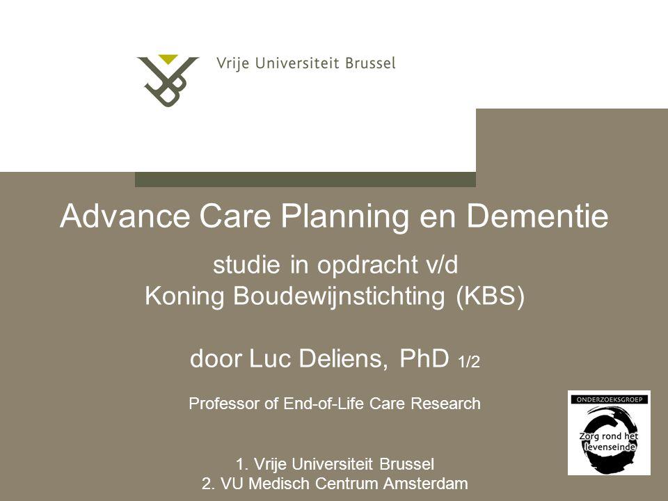 Advance Care Planning Conclusies mbt ACP praktijk bij huisartsen Algemeen Bij minder dan de helft (4/10) ACP Hoger dan verwacht, echter nog veel ruimte voor verbetering mogelijk (ook bij gezonde patiënten) Erg weinig schriftelijke ACP (4%)  probleem van continuïteit van zorg bij transfers