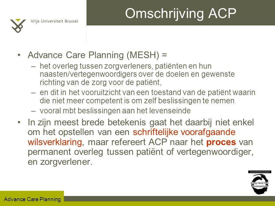 Advance Care Planning Advance Care Planning in België Inhoud ACP bij patiënten met DEMENTIE Potentieel levensverlengende behandelingen (n=46)