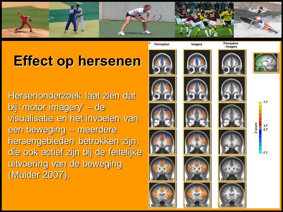 Hersenonderzoek laat zien dat bij 'motor imagery' – de visualisatie en het invoelen van een beweging – meerdere hersengebieden betrokken zijn, die ook