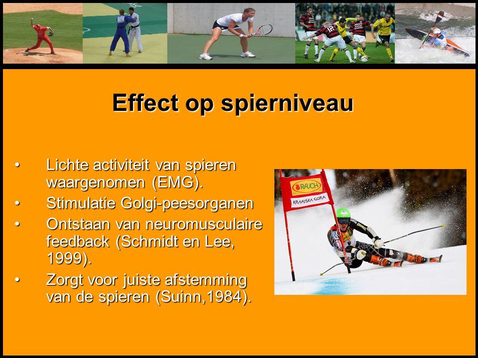 Mentale Sportbegeleiding Lichte activiteit van spieren waargenomen (EMG).Lichte activiteit van spieren waargenomen (EMG). Stimulatie Golgi-peesorganen