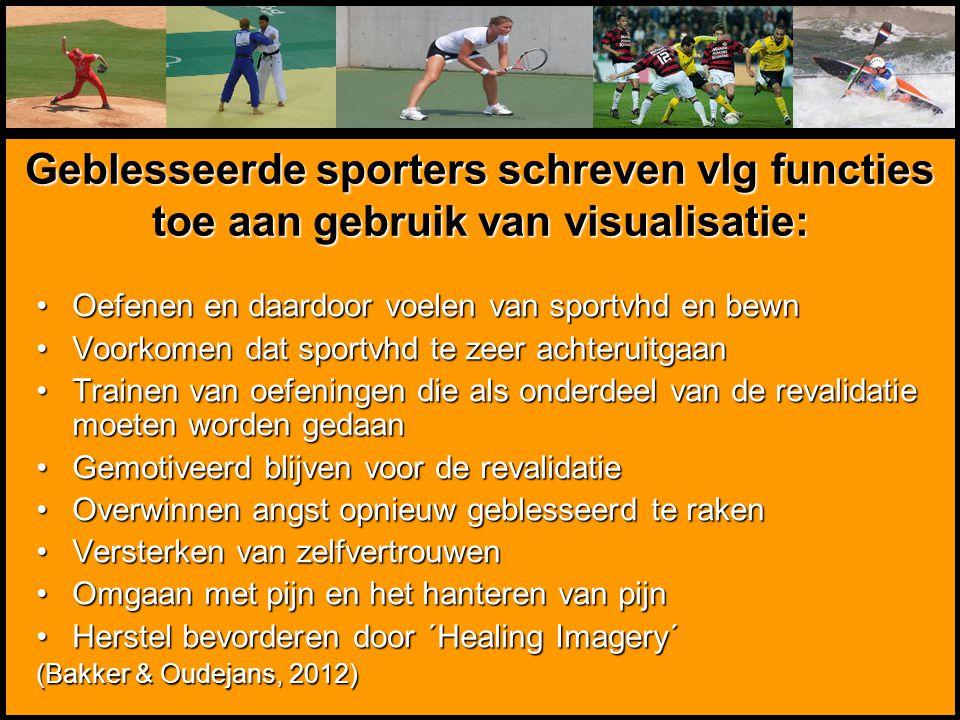 Geblesseerde sporters schreven vlg functies toe aan gebruik van visualisatie: Oefenen en daardoor voelen van sportvhd en bewnOefenen en daardoor voele