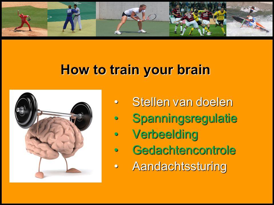 Mentale Sportbegeleiding Stellen van doelenStellen van doelen SpanningsregulatieSpanningsregulatie VerbeeldingVerbeelding GedachtencontroleGedachtenco
